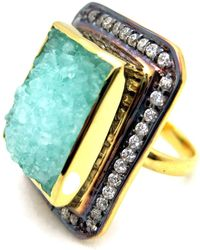 Meghna Jewels - Mint Green Textured Druzy Ring - Lyst