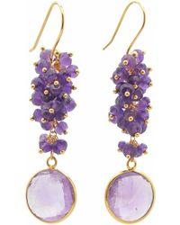 Carousel Jewels - Amethyst Cluster Drop Earrings - Lyst