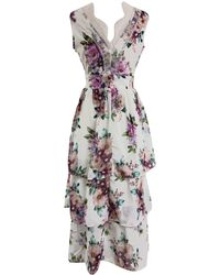 LEFON New York - Tiered Dress Multicolored Floral - Lyst