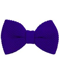 40 Colori - Royal Blue Solid Silk Knitted Bow Tie - Lyst
