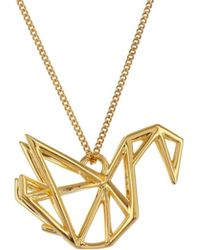 Origami Jewellery - Frame Swan Necklace Gold - Lyst
