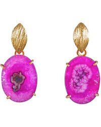 Magpie Rose - Pink Solar Quartz Earrings - Lyst