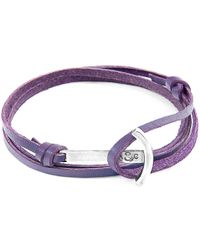 Anchor & Crew - Grape Purple Clipper Anchor Silver & Flat Leather Bracelet - Lyst
