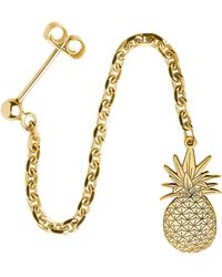 CarterGore - Gold Pineapple Single Long Drop Earring - Lyst