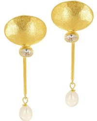 Ottoman Hands - White Crystal And Pearl Bar Earrings - Lyst