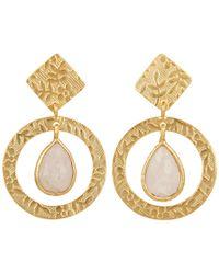 Carousel Jewels - Delicate Engraved Gold & Moonstone Drop Earrings - Lyst