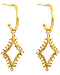 Annabelle Lucilla Jewellery - Lantern Charm Hoops Gold - Lyst