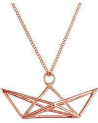 Origami Jewellery - Frame Boat Necklace Rose Gold - Lyst