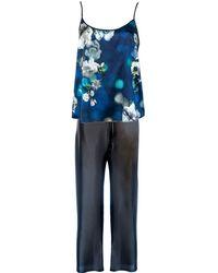 StephieAnn - Navy Blue Silk Pyjamas - Lyst