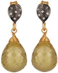 Carousel Jewels - Crystal & Lemon Topaz Drop Earrings - Lyst