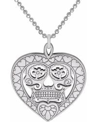 CarterGore - Silver Sugar Skull Heart Pendant Necklace Medium - Lyst