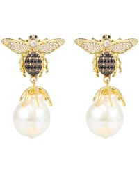 Latelita - Honey Bee Baroque Pearl Drop Earring Gold - Lyst