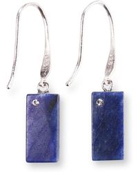 Ona Chan Jewelry - Rectangle Blue Quartz Earring With Swarovski - Lyst