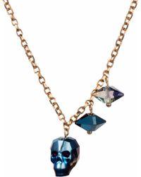 Nadia Minkoff - Crystal Skull & Double Spike Necklace Metallic Blue - Lyst