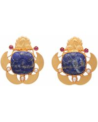Carousel Jewels - Blue Lapis Pearl & Red Crystal Earrings - Lyst