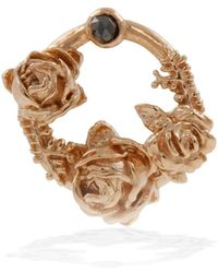 Lee Renee - Black Diamond Rose Halo Lapel Pin Rose Gold - Lyst