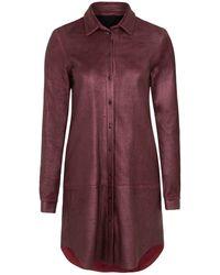 Gyunel - Slashed Leather Shirt Dress - Lyst