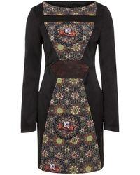 Gyunel - Long Sleeve Print Panel Dress - Lyst