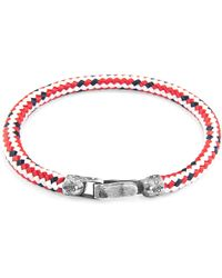 Anchor & Crew - Red Dash Paignton Silver & Rope Bracelet - Lyst