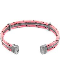 Anchor & Crew - Pink Aire Silver & Rope Bangle - Lyst