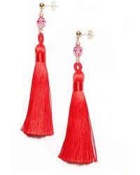 Amundsen Jewellery - Red Silk Tassel Earrings - Lyst