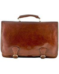 Maxwell Scott Bags | Luxury Italian Leather Men's Satchel Briefcase Jesolo Classic Chestnut Tan | Lyst