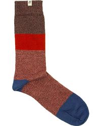 40 Colori - Rust Striped Melange Thick Organic Cotton Socks - Lyst