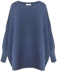 Paisie - Ribbed Jumper With Side Splits In Blue - Lyst