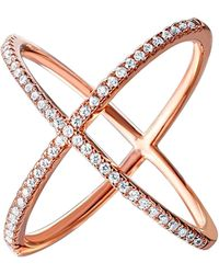 Cosanuova - Sterling Silver X Crisscross Cz Ring In Rose Tone - Lyst