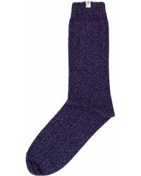 40 Colori - Blue Melange Thick Ribbed Organic Cotton Socks - Lyst