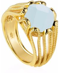 Neola - Alessia Gold Cocktail Ring With Aqua Chalcedony - Lyst