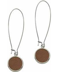 N'damus London - Silverdale Tan Leather & Steel Drop Earrings - Lyst