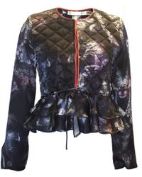 Klements - Victoria Quilted Frill Silk Jacket In Bruised Lace Print - Lyst