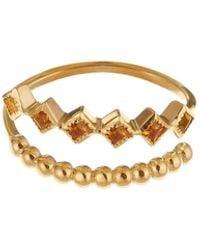 GFG Jewellery by Nilufer - Lara Citrine Double Row Ring - Lyst