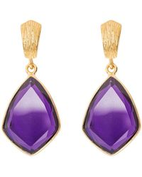 Juvi Designs - Glamour Puss Earrings With Amethyst - Lyst