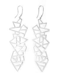 Ona Chan Jewelry - Long Multi Lattice Drop Earrings Silver - Lyst