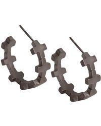 Amberly Cross - Hoop Earrings Matte Black Rhodium - Lyst