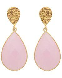 Carousel Jewels - Double Drop Rose Quartz & Golden Nugget Earrings - Lyst