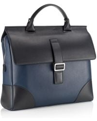 Mark Giusti - Milano Nappa Briefcase Navy & Black Combo - Lyst