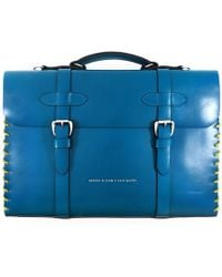 Anchor & Crew - Traffic Blue Rufford Leather & Rope Briefcase - Lyst