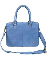 MAHI - Suede Leather Oxford Zip-up Satchel Briefcase Bag In Vintage Blue -  Lyst 1b228d03a7201