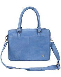 526175f0ba59 MAHI - Suede Leather Oxford Zip-up Satchel Briefcase Bag In Vintage Blue -  Lyst
