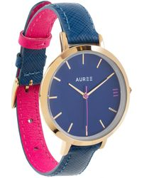 Auree - Montmartre Yellow Gold Watch With Royal Blue & Hot Pink Strap - Lyst