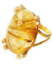 GFG Jewellery by Nilufer - Niki Ring Gold Rutilated Quartz White Sapphires - Lyst