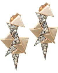 Sadekar Jewellery | A Mixed Triangle Earrings White & Brown Diamonds | Lyst