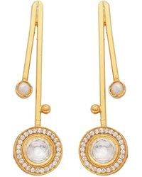 Carousel Jewels - Pearl And Crystal Quartz Pendulum Earrings - Lyst