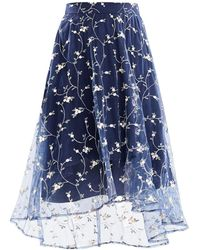 Paisie - Midi Skirt With Embroidered Floral Tulle Overlay And Dip Hem - Lyst