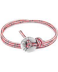 Anchor & Crew - Red Dash Lerwick Silver & Rope Bracelet - Lyst