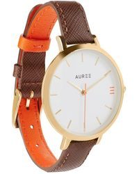 Auree - Montmartre Yellow Gold Watch With Chestnut Brown & Orange Strap - Lyst