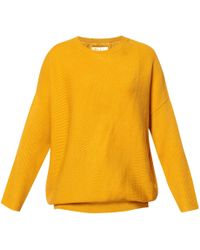 Paisie - Round Neck Knitted Top With Diagonal Ribbed Detail In Yellow - Lyst